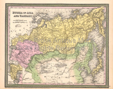 Russia Tartary Vintage Map DeSilver 1855