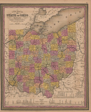 Ohio Vintage Map Mitchell Cowperthwait 1852