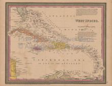 Caribbean Islands Antique Map Mitchell Cowperthwait 1852