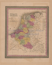 Holland Belgium Antique Map Mitchell Cowperthwait 1852