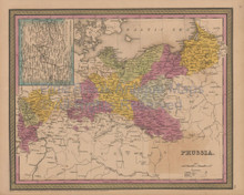 Prussia Antique Map Mitchell Cowperthwait 1852