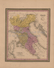 Italy Antique Map Mitchell Cowperthwait 1852