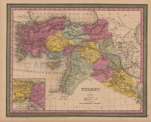 Turkey Asia Antique Map Mitchell Cowperthwait 1852