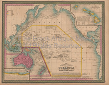 Pacific Ocean Antique Map Mitchell Cowperthwait 1852