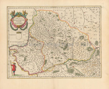 Beauvais Pontoise France Vintage Map Blaeu 1650