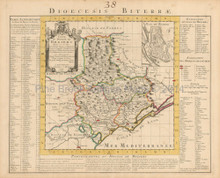 Beziers Narbonne France Vintage Map Covens Mortier 1745