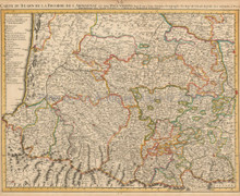 Biarritz Bayonne Toulouse France Vintage Map Covens Mortier 1745
