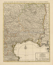 Montpellier Narbonne Beziers France Vintage Map Covens Mortier 1745