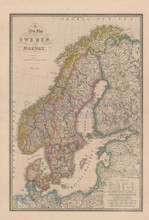 Sweden Norway Vintage Map Wyld 1863