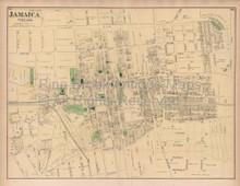 Jamaica Queens New York Vintage Map Beers 1873