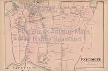 Patchogue New York Vintage Map Beers 1873
