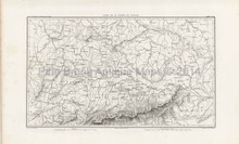 Antique Map Danube River Thiers 1864
