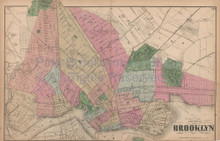 Brooklyn New York Vintage Map Beers 1873