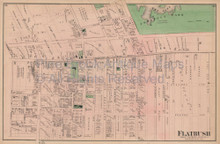 Flatbush Bay Ridge New York Vintage Map Beers 1873