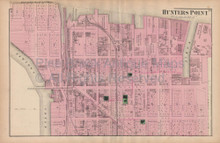 Astoria Hunters Point Queens New York Vintage Map Beers 1873