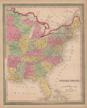United States Vintage Map Tanner 1845 Original