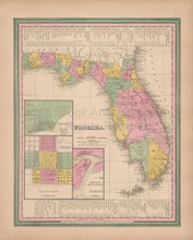 Florida Vintage Map Tanner 1845 Original