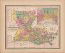 Louisiana Vintage Map Tanner 1845 Original