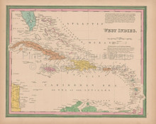 Caribbean Islands Vintage Map Tanner 1845 Original