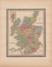 Scotland Vintage Map Tanner 1845 Original