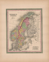 Norway Sweden Vintage Map Tanner 1845 Original
