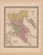 Italy North Vintage Map Tanner 1845 Original