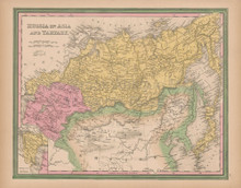 Russia In Asia Vintage Map Tanner 1845 Original
