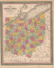 Ohio Antique Map Cowperthwait 1853