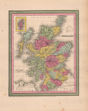 Scotland Antique Map Cowperthwait 1853