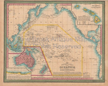 Pacific Ocean Antique Map Cowperthwait 1853