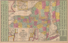 New York State Antique Map Cowperthwait 1853