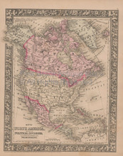 North America Vintage Map Mitchell 1864