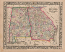 Georgia Alabama Vintage Map Mitchell 1864