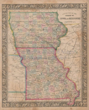 Iowa Missouri Vintage Map Mitchell 1864