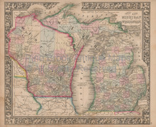 Michigan Wisconsin Vintage Map Mitchell 1864