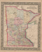 Minnesota Vintage Map Mitchell 1864