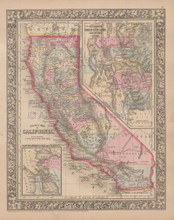 California Vintage Map Mitchell 1864
