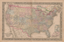 United States Vintage Map Mitchell 1864