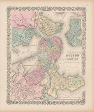 Boston Vintage Map Colton 1856