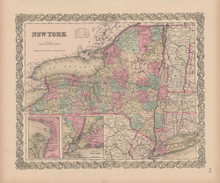 New York State Vintage Map Colton 1856