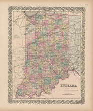 Indiana Vintage Map Colton 1856