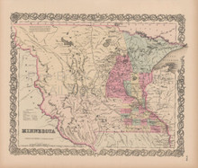 Minnesota Vintage Map Colton 1856