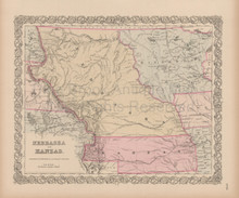 Nebraska Kanzas Vintage Map Colton 1856