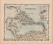 West Indies Vintage Map Colton 1856