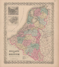 Holland Belgium Vintage Map Colton 1856