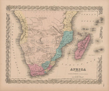 Africa Southern Vintage Map Colton 1856