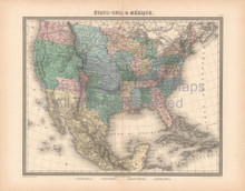 United States Mexico Antique Map Furne 1850
