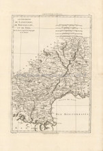 Southwest France Antique Map Bonne 1787