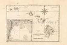Hawaii Antique Map Bonne 1788