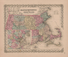 Massachusetts and Rhode Island Vintage Map GW Colton 1855